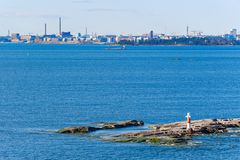 Helsinki harbour coastline Stock Image