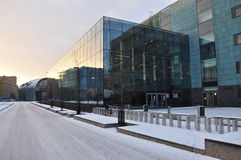 Helsinki contemporary architecture by snow fall Royalty Free Stock Photos