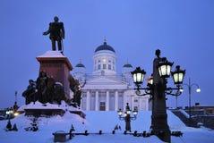 Helsinki in de schemering Royalty-vrije Stock Afbeeldingen