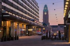 Helsinki an der Dämmerung Stockfotos