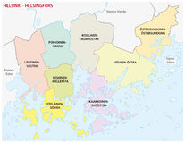 Helsinki district map. Administrative, district map of the Finnish capital Helsinki Stock Images