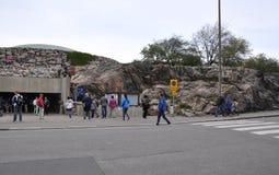 Helsinki, el 23 de agosto de 2014 - iglesia del granito de Helsinki en Finlandia Fotografía de archivo libre de regalías