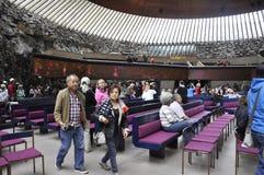 Helsinki, el 23 de agosto de 2014 - interior de la iglesia del granito de Helsinki en Finlandia Fotografía de archivo