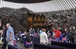 Helsinki, el 23 de agosto de 2014 - interior de la iglesia del granito de Helsinki en Finlandia Imagen de archivo libre de regalías