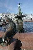 Havis Amanda - nude female fountain statue at the Market Square on August 2012 in Helsinki. Royalty Free Stock Images