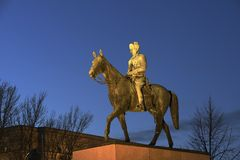 Helsinki, Finland – December 6, 2018: The monument to Marshal Mannerheim by sculptor Aimo Tukainen is placed in the center. Of Helsinki on royalty free stock image