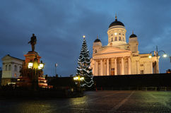 HELSINKI, FINLAND – NOVEMBER 25, 2012: Christmas tree at night Royalty Free Stock Photos