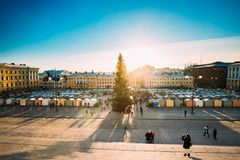 Helsinki, Finland. Aerial View Of Christmas Xmas Market With Chr. Helsinki, Finland - December 11, 2016: Christmas Xmas Market With Christmas Tree On Senate stock images