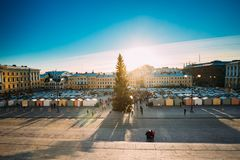 Helsinki, Finland. Aerial View Of Christmas Xmas Market With Christmas Tree On Senate Square. In Sunny Winter Day royalty free stock photography