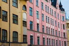 Colorful building on a summer day. Helsinki, Finland. August 27, 2017. Colorful buildings on a sunny summer day royalty free stock image