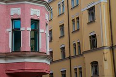 Colorful buildings on a sunny summer day. Helsinki, Finland. August 27, 2017. Colorful buildings on a sunny summer day stock photos