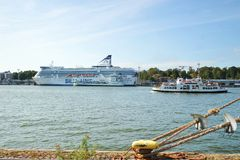 Cruise liner Silja line on the waterfront in Helsinki royalty free stock photos
