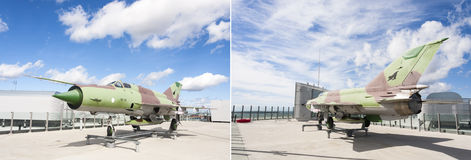 HELSINKI, FINLAND - AUGUST 27, 2016: Fighter jet on a roof terra stock photos