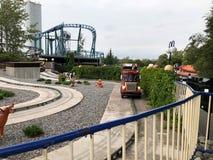 HELSINKI, FINLAND - AUGUST 23, 2018: Having fun at Amusement Park Linnanmaki in Helsinki, Finland Stock Photography