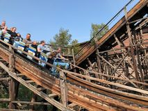 HELSINKI, FINLAND - AUGUST 23, 2018: Having fun at Amusement Park Linnanmaki in Helsinki, Finland Stock Photo