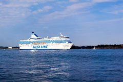 HELSINKI, FINLAND-AUGUST 18: Silja Line ferry sails from the port of Helsinki,  Finland August 18 2013.Paromy Silja Line of regula Royalty Free Stock Image