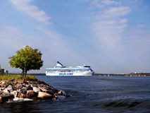 HELSINKI, FINLAND-AUGUST 18: Silja Line ferry sails from the port of Helsinki,  Finland August 18 2013.Paromy Silja Line of regula Stock Images