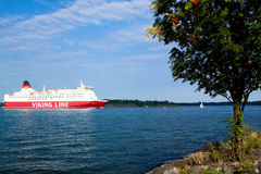 HELSINKI, FINLAND-AUGUST 18: Viking Line ferry sails from the port of Helsinki,  Finland August 18 2013.Paromy Viking Line of regu Royalty Free Stock Image