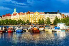 Helsinki, Finland. Beautiful summer scenery panorama of the Old Town pier architecture in Helsinki, Finland Stock Photo