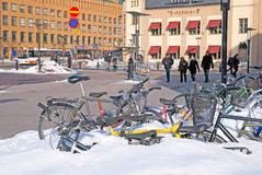 Helsinki. Finland. Bikes near Central Railway Station Stock Image