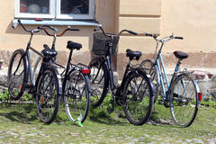 Helsinki, Finland. Bikes on the parking near house Royalty Free Stock Image