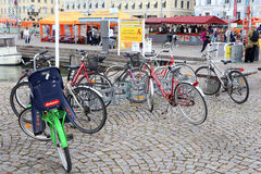 Helsinki, Finland. Bikes on the parking in seaport Royalty Free Stock Images