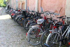 Helsinki, Finland. Bikes on the parking in seaport Royalty Free Stock Photos