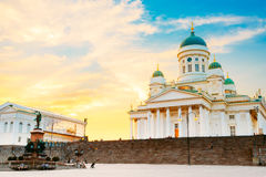 Helsinki, Finland. Cathedral And Monument To Russian Emperor Ale Royalty Free Stock Images