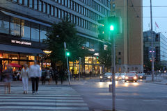 Helsinki, Finland. The central street in the night Royalty Free Stock Photo