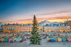 Helsinki, Finland. Christmas Xmas Market With Christmas Tree On stock images