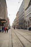 Helsinki, Finland - Circa maart 2018: tram in Helsinki, openbaar vervoer stock fotografie