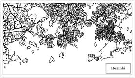 Helsinki Finland City Map in Black and White Color. Vector Illustration. Outline Map Royalty Free Stock Photos