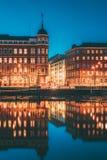Helsinki, Finland. Crossroad Of Pohjoisranta And Kirkkokatu Street In Evening Or Night Illumination.  stock images