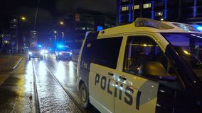 Police keep order during Antifa`s march and rally of far-right nationalists on Finland`s Independence Day. Helsinki, Finland - Dec 06, 2019: Police keep order stock video footage