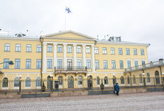 Helsinki, Finland - 21 December 2015: Building of Presidential Palace. Royalty Free Stock Photo