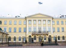 Helsinki, Finland - 21 December 2015: De bouw van Presidentieel Paleis Royalty-vrije Stock Foto
