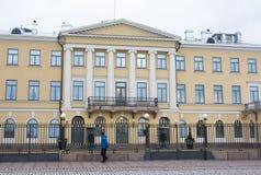 Helsinki, Finland - 21 December 2015: De bouw van Presidentieel Paleis Royalty-vrije Stock Afbeelding