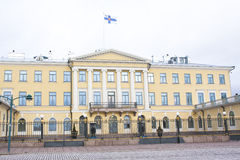 Helsinki, Finland - 21 December 2015: De bouw van Presidentieel Paleis Royalty-vrije Stock Afbeeldingen