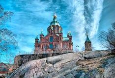 helsinki finland Den Uspenski domkyrkan Arkivfoton
