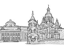 Helsinki, Finland famous Travel Sketch. Lineart drawing by hand. Greeting card design, vector illustration Royalty Free Stock Images
