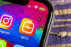 Apple iPhone X with social networking service IGTV Instagram on the smartphone screen close-up. IGTV app icon. Social media icon. Helsinki, Finland, February 17 stock photography