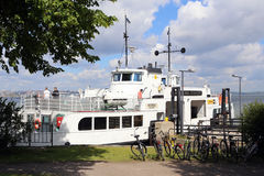 Helsinki, Finland. Ferry boat in the seaport of Suomenlinna islands Royalty Free Stock Photography