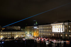 HELSINKI, FINLAND � JANUARY 5, 2014: The Lux Helsinki light even. T, arranged for the sixth time between 4 and 8 January 2014, brought 150,000 visitors Stock Photos