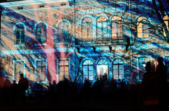 HELSINKI, FINLAND � JANUARY 5, 2014: The Lux Helsinki light even. T, arranged for the sixth time between 4 and 8 January 2014, brought 150,000 visitors Stock Images