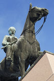 HELSINKI, FINLAND, JANUARY 21, 2014: The monument to Marshal Man. Nerheim by sculptor Aimo Tukainen is placed in the center of Helsinki on Mannerheimintie Avenue stock photo