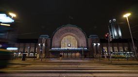 Timelapse of traffic near Central railway station in night Helsinki stock video footage