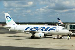 Preparing the Adria aircraft for takeoff,. HELSINKI, FINLAND, JUL 03 2017, Preparing the Adria aircraft for takeoff, Helsinki Vantaa Airport, Finland. The air royalty free stock images