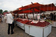 HELSINKI, FINLAND - JULI 23, 2016: De mensen kopen verse aardbeien op het Marktvierkant in het centrum van Helsinki Royalty-vrije Stock Fotografie