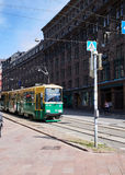 HELSINKI, FINLAND - JULY 17, 2015: The movement of the tram on streets of Helsinki Stock Photos