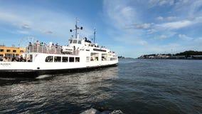 Suomenlinna ferry arrives to Market Square in Helsinki, Finland. Helsinki, Finland - July 15, 2017: People on the ferry boat from Suomenlinna island arrives to stock video